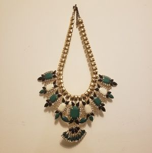 Green and gold jewel statement necklace